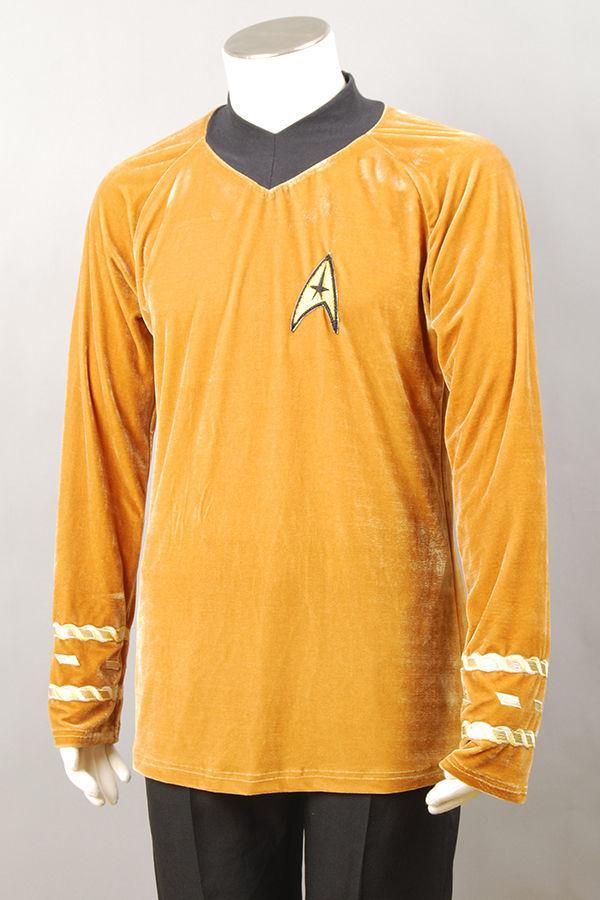 Adult Star Trek Captain Kirk Gold Shirt Mens Fancy Dress Costume Party Outfit