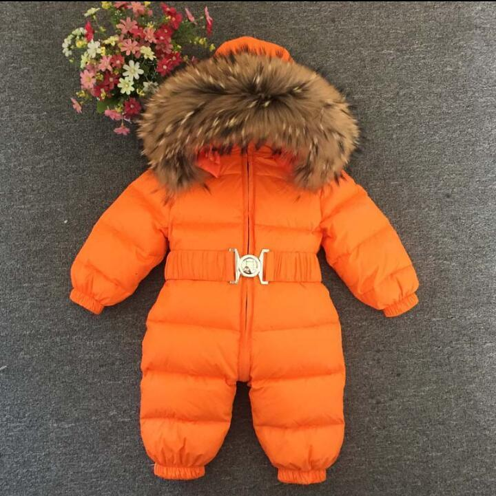 Inverno do bebê snowsuits crianças Macacão segurar -25 18M-4T Menino Meninas Quente pele natural Down Jacket roupa dos miúdos Infantil macacãozinho para baixo Parkas geral