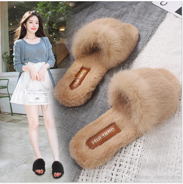 Herbst und Winter neuer wilder Frauenschuh flache Baumwolle Pantoffel