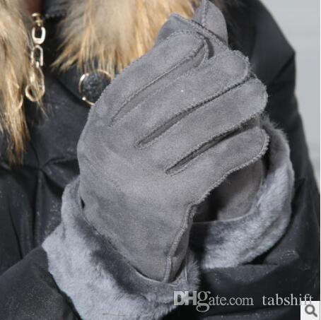 women fashion gloves Fur integrated glove five fingers winter gloves leather leather gloves taobao hot sellers