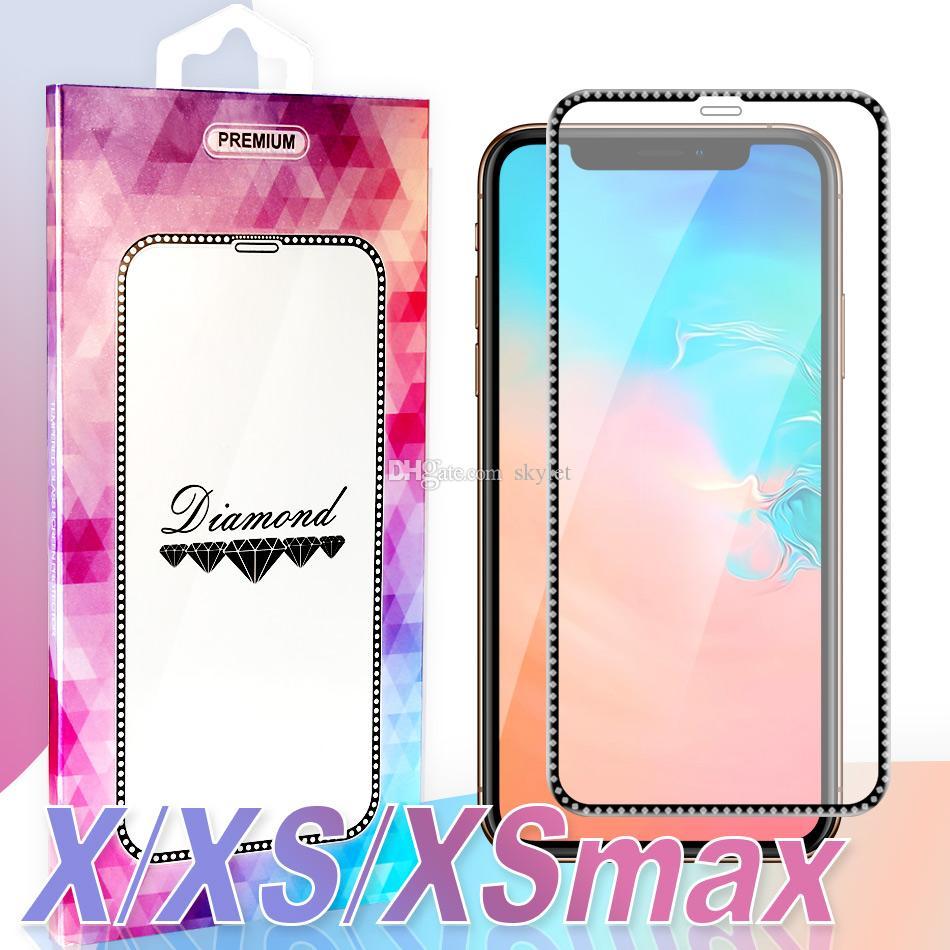 Für Apple iPhone Neueste Schirm-Schutz-Bling Bling Galvani Rim ausgeglichenes Glas für iPhone XS MAX XR XS 7 8 PLUS mit Kleinkasten