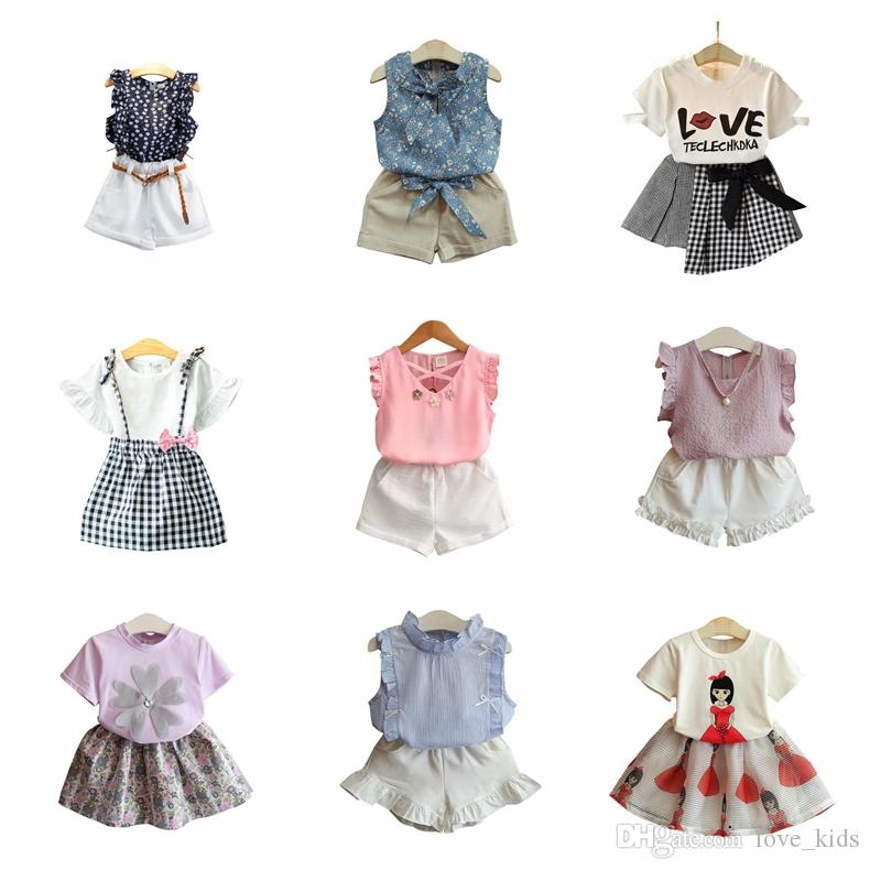 UK Stock Toddler Baby Girls Summer Short Sleeve T-Shirt Tops Shorts Clothes Set