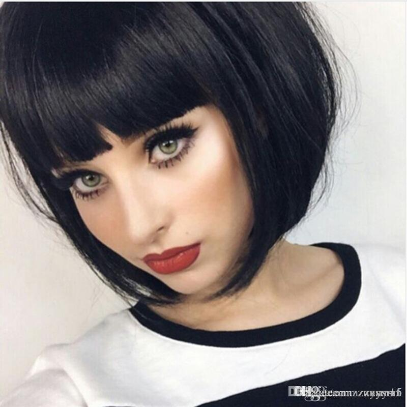 High Quality Full no Lace Wig Bob Style Straight Short Halloween Carnival Makeup Party Club Cosplay Human Hair Wig (Color:Black)
