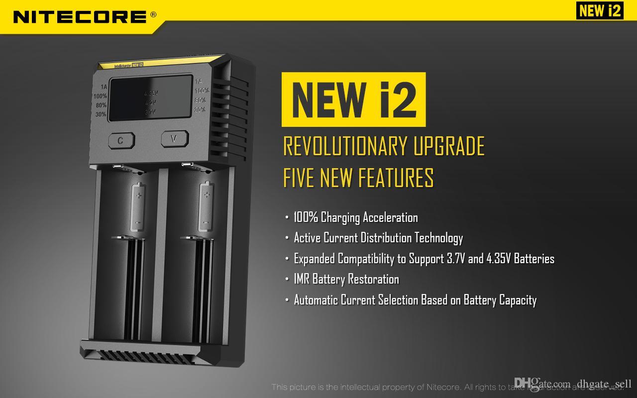 2019 원래 NITECORE 새로운 I2 Digicharger LCD 디스플레이 배터리 충전기 Universal Nitecore I2 충전기 VS Nitecore I2 D2 D4 UM10 UM20 무료 배송