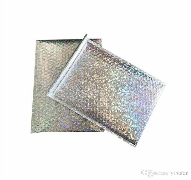De gran tamaño láser de plata envolvente de correo del mensajero del bolso de burbuja anuncios publicitarios de los sobres acolchados Embalaje para el transporte bolsa de 23 x 30 cm