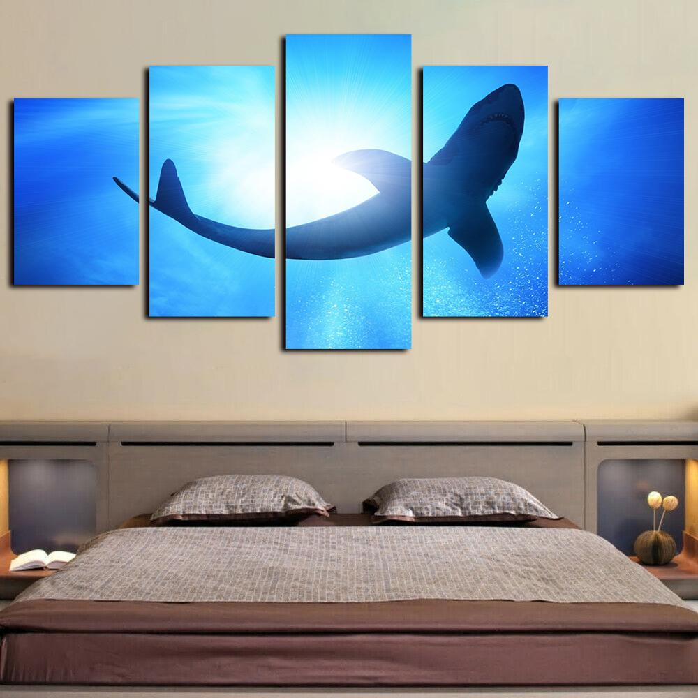 Deep Sea Fishing Rods 5 panel canvas Wall Art Room Home Decor Poster Print