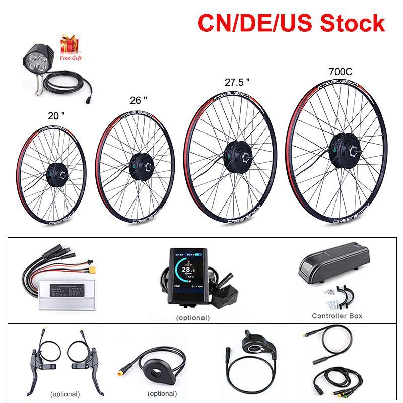"""자전거 20 """"26""""27.5 """"700C 리어 휠 모터의 E-자전거 48V 500W 허브 모터 뒷 바퀴 전기 자전거 변환 키트 종류"""