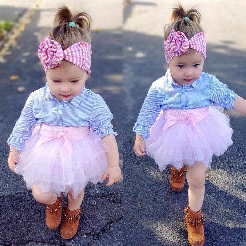 New Spring Baby Girls Fashon Set Vêtements pour enfants à manches longues rayé Shirts Top + rose bowknot Tutu Jupes 2PCS Tenues Survêtement