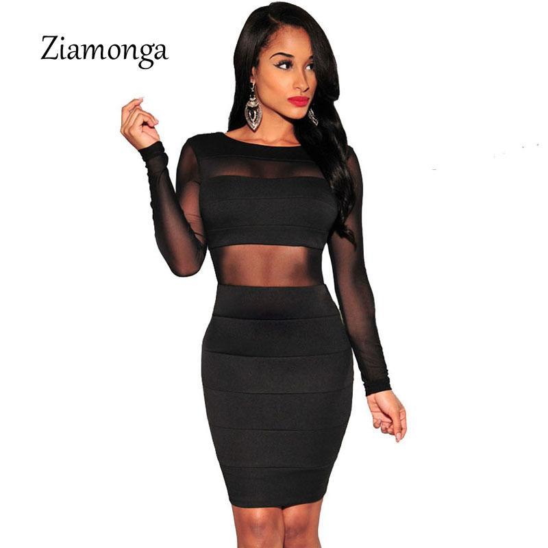Xs-xxl vendaje atractivo vestido nuevo invierno negro blanco vestido de manga larga de malla patchwork ahueca hacia fuera el vestido bodycon lápiz vestidos femeninos MX19070401