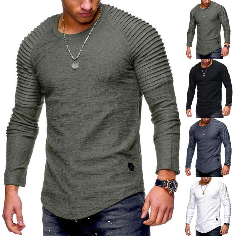 Frieed Men T-Shirts Slim Long Sleeve Solid Color Round Neck Casual T-Shirts Tee