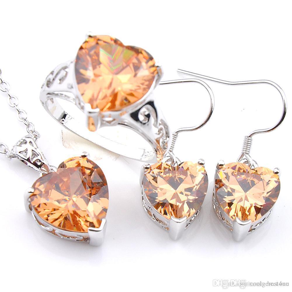 خليط Luckyshine 3pcs / Lot Engagement Heart قلادة الحلقة Set Cubic Zirconia Gems 925