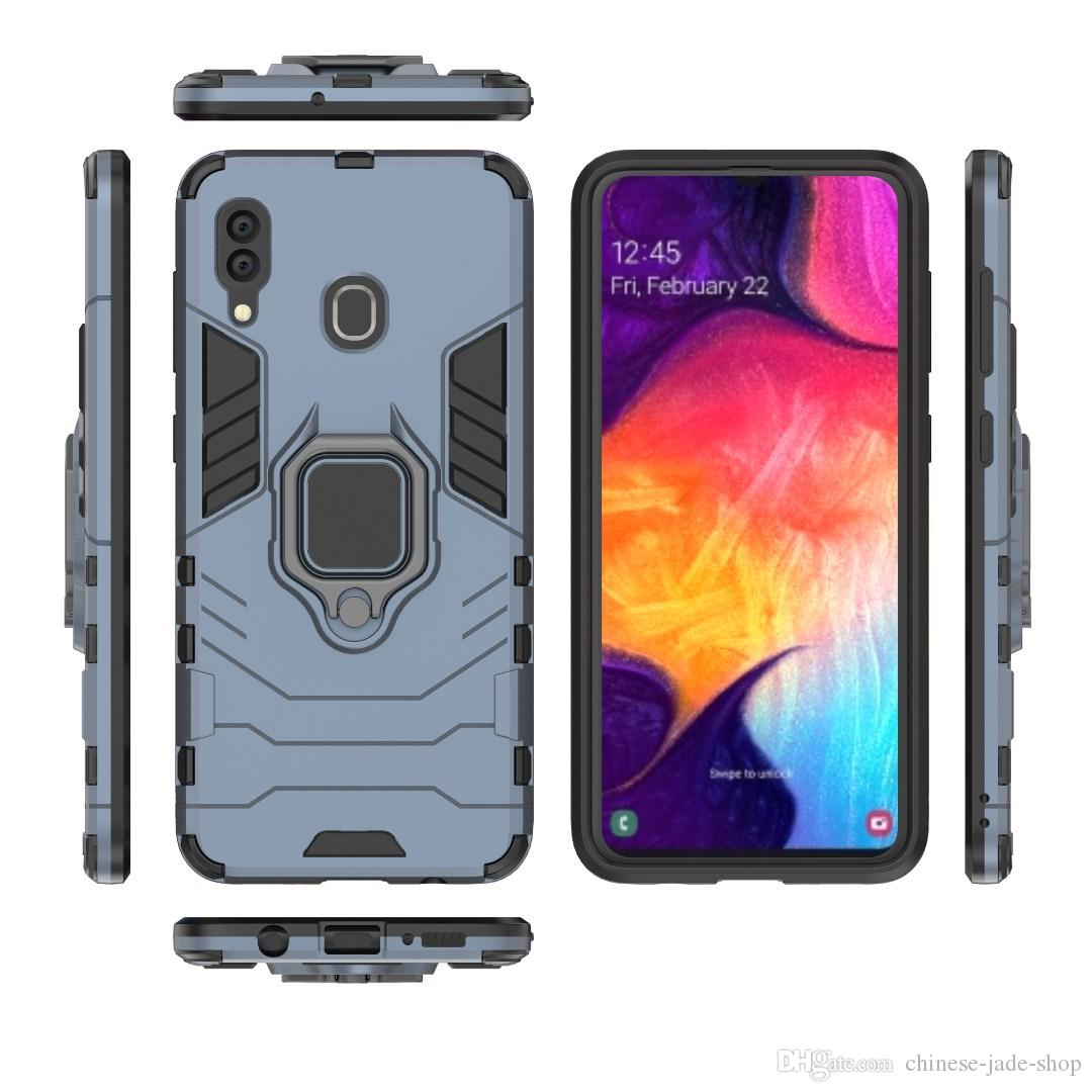 Ringhouder Kickstand Cover Case Armor Rugged Dual Layer voor Samsung Galaxy S10 S10E S10 Plus A30 A50 A40 A60 M10 M20 M30 A8S 150PCS