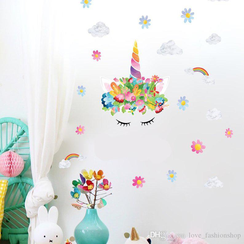 Set of 5 Large pcs Flower Elephant Wall Art Stickers Decal Kids Nursery Decor