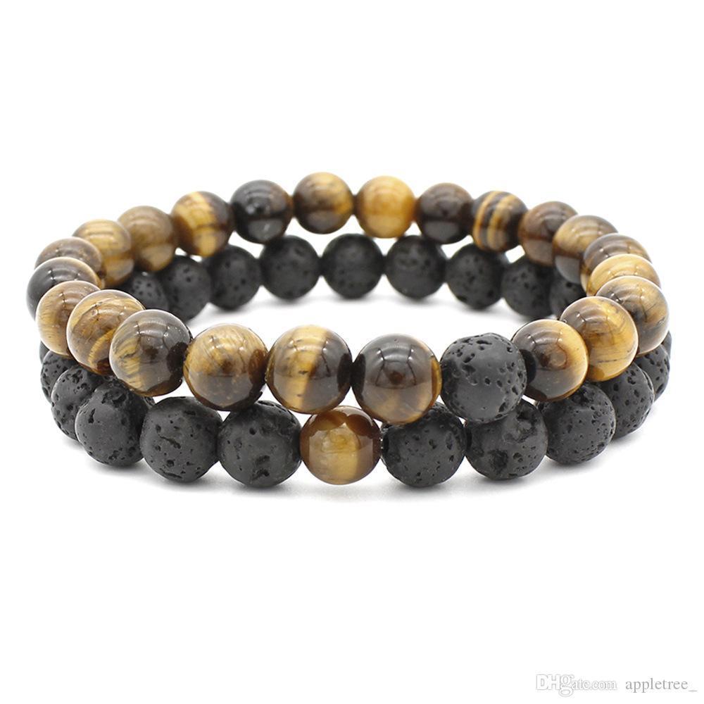 In rilievo bracciali Donne Uomini Lava Rock naturale Perline Chakra Bracciali Healing Energy Bracciale pietra essenziale Jewelry Designer olio diffusore