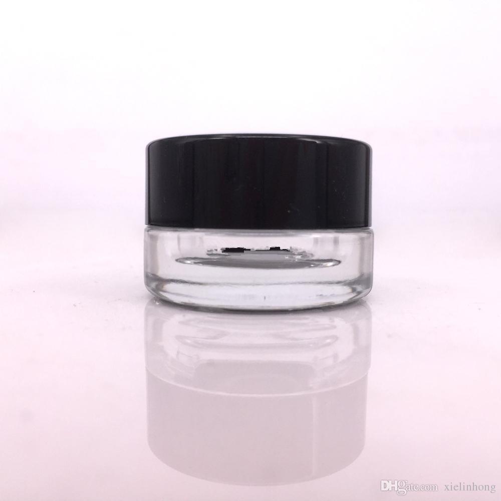 Récipient en verre antiadhésif de catégorie comestible 5ml de récipients en verre de cire Dabber contenant de l'huile de concentré d'herbe sèche pour la cigarette électronique G9 henail plus le stylo vape