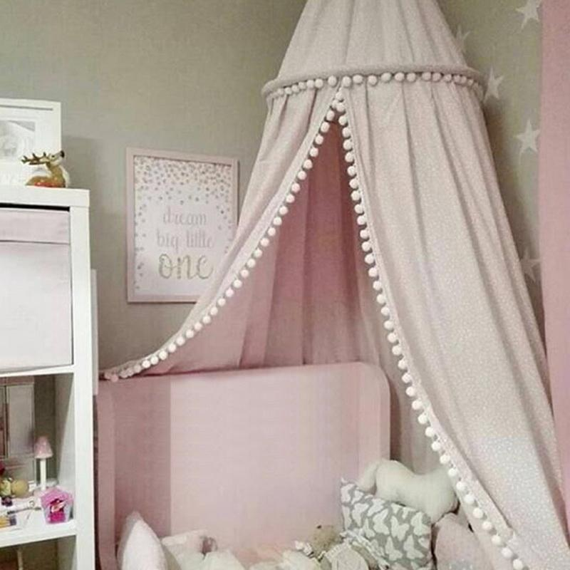 Urijk Student Bed Mosquito Net Room Decor for Children Girls Pink Princess Mosquito Net Canopy Baby Kids Lace Four Corner Post