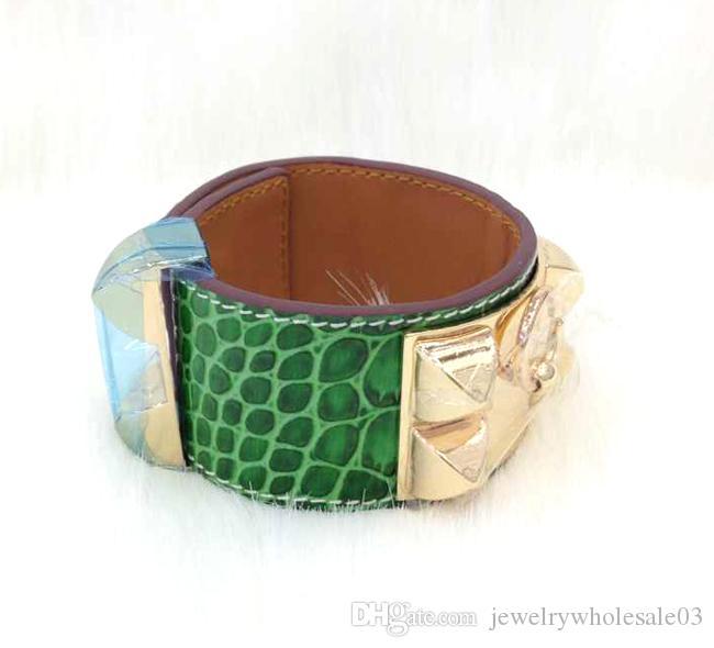 Mode Leder Armband H Marke Schmuck Edelstahl h Armband Designer Schmuck Frauen Armreifen Leder Nagel Armband Armreif