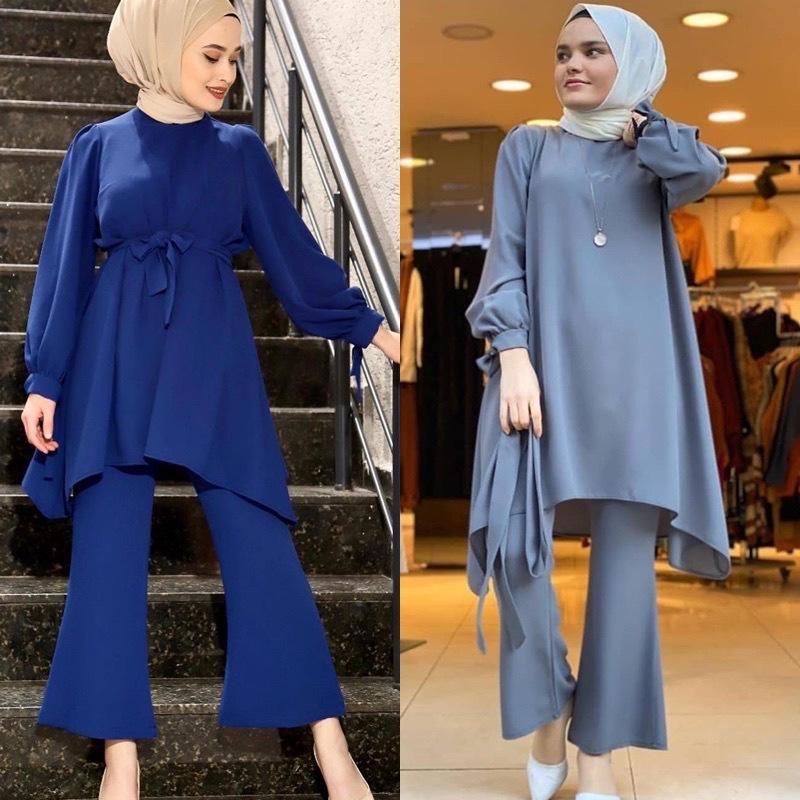 Wepbel Bonne qualité femmes musulmanes Set Plus Size + Pantalon en vrac Top Vêtements Costume musulman filles arabes Deux Piece Set Top et pantalon