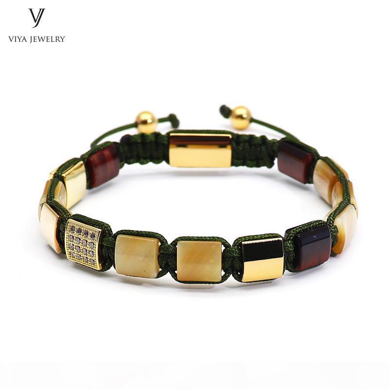 Luxury Gold-cor Homens Pulseira de Ouro Tiger Eyes Praça Beads Pave Definir Beads trançado Macrame Bracelet Jewelry For Men presente