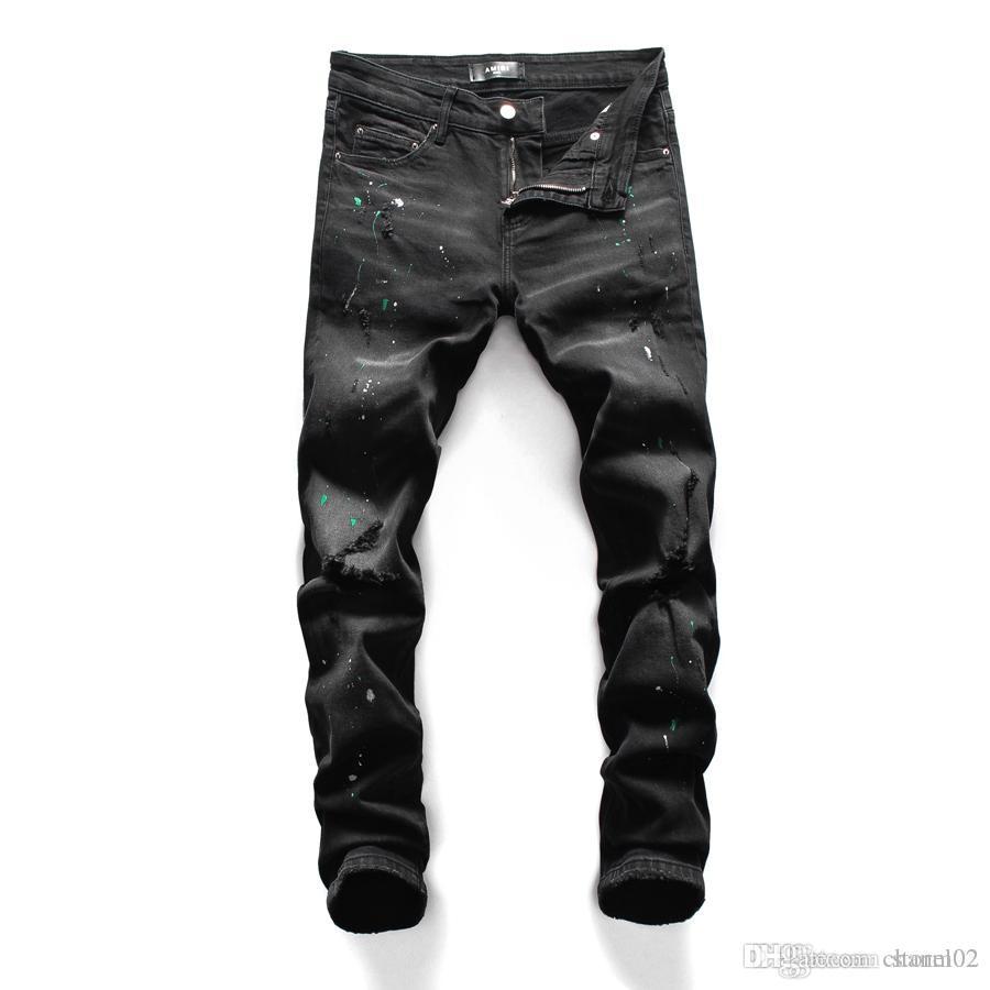 20SS Yeni Moda Jeans Marka Tasarımcı Erkekler deldi Jeans Tasarımcı Trend Erkek Moda Sıkı Jeans dört mevsim pantolon 13264G31