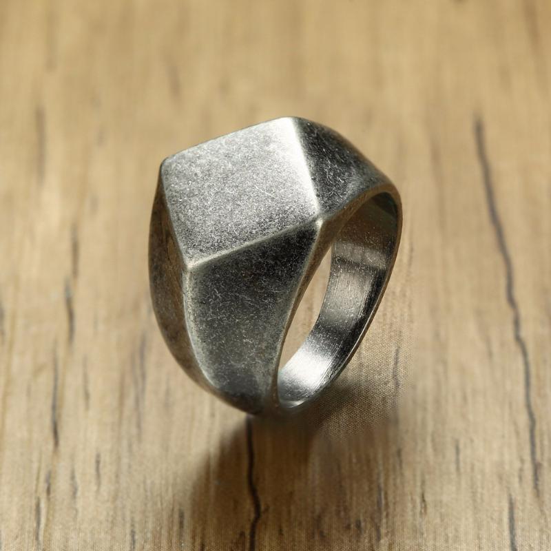 Quadrangle Plano-Top Signet Anel de homens Lateefah por Homens jóias de aço inoxidável oxidação Vintage Grey Masculino jóia jóias