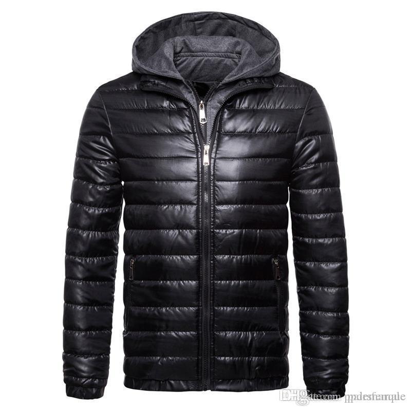 Designer Winter-Herren Mantel Solid Color Langarm-gestreifte Kapuze gefälschte zweiteilige Herren-Oberbekleidung Casual Male Bekleidung