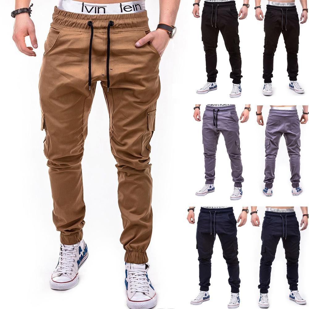 Hommes Pantalons Hip Hop Harem Joggings 2019 Hommes Pantalons Hommes Joggers solides de grande taille Sweatpants Pantalon multi-poches 4XL