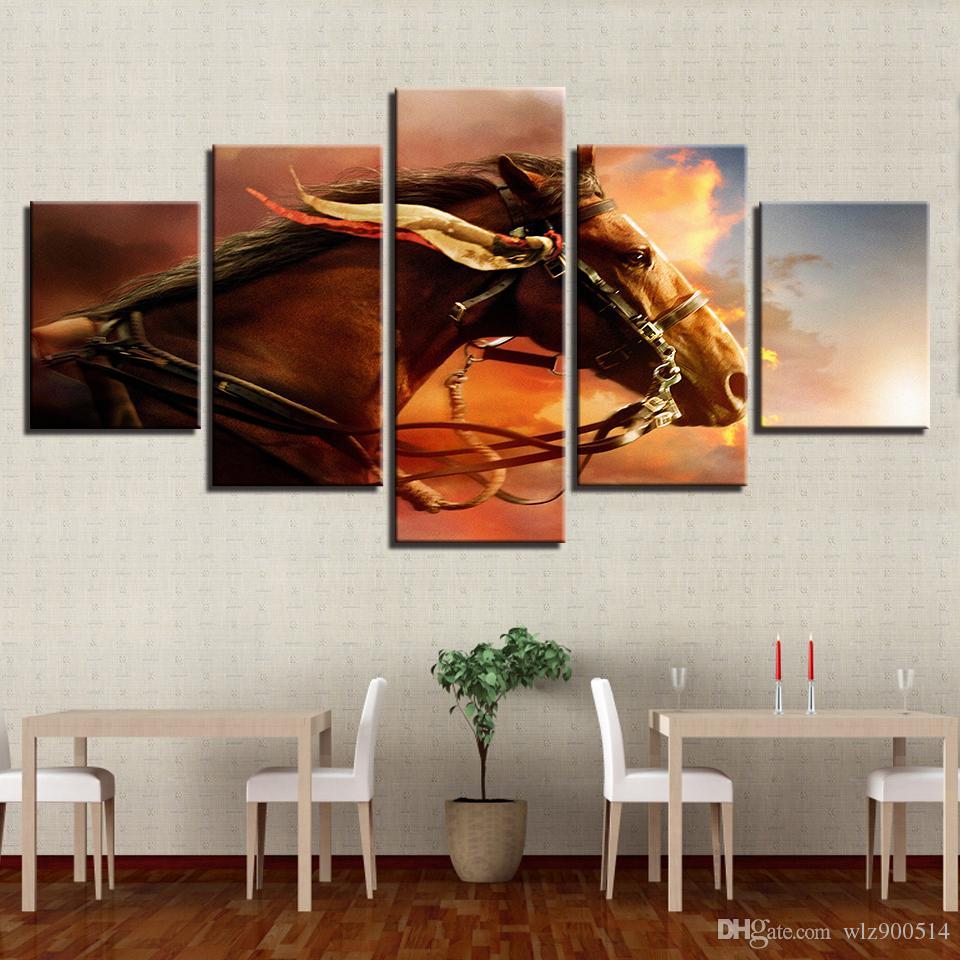 Toile Photos Modulaire Pour Le Salon Home Decor 5 Pièces Animal Cheval De Guerre Peintures Mur Art HD Prints Film Affiche No Frame