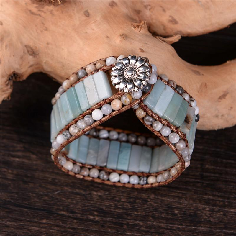 Bohemia Bracelet Amazonite Single Vintage Leather Wrap Bracelet Semi Precious Stone Beaded Cuff Bracelet Women's Gift J190721