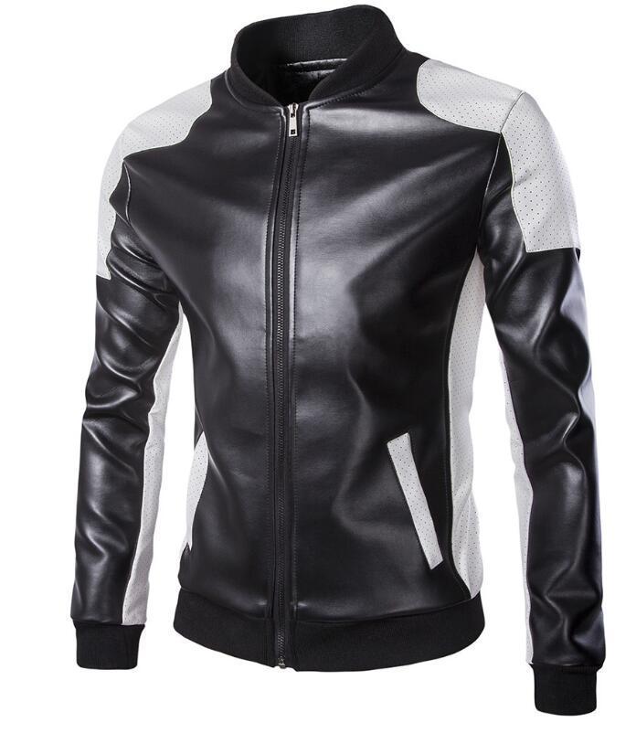 Primavera casuale giacca di pelle colletto alla coreana degli uomini di modo nero di colore bianco corrispondenti dimensioni grandi Jacket giacche tuta sportiva del cappotto