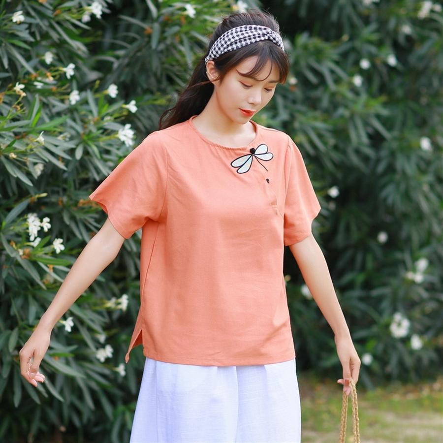 Frauen-künstlerischer T-Shirt Stickerei Stickerei Baumwolle Kurzarm-Top lose runde Kragen Platte Schnalle bestickte T-Shirt weiblich