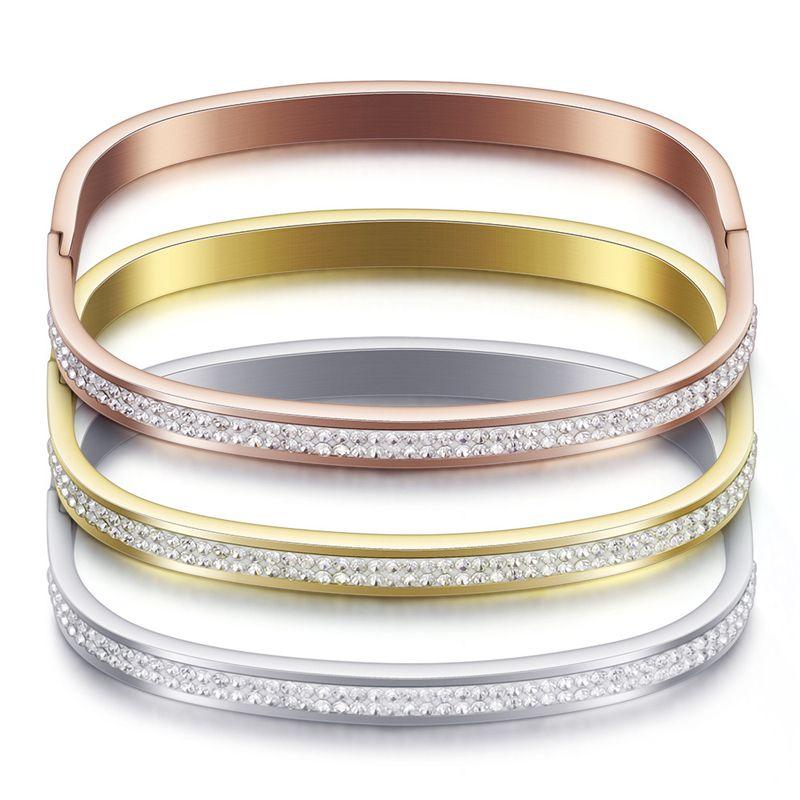 Fashion Rose Gold Edelstahl Armband für Frauen Simple Gold Armbänder Luxus-Silber-Kristallarmband-Schmucksachen Armband-Geschenk