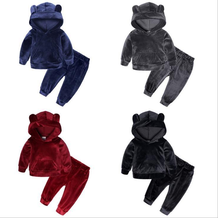 Niños Baby Girl Ropa Conjunto de chándales Boys Velvet Tops Sudadera con capucha Tops Pantalones Cálido Algodón 2pcs Traje de ropa para bebés Conjuntos