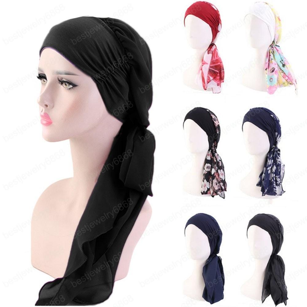 Kadın Müslüman Hicap Kanser Kemoterapi Çiçek Baskı Şapka Turban Cap Kapak Saç Dökülmesine Başkanı Eşarp Wrap Şapkalar Streç Bandana Ön Bağlı