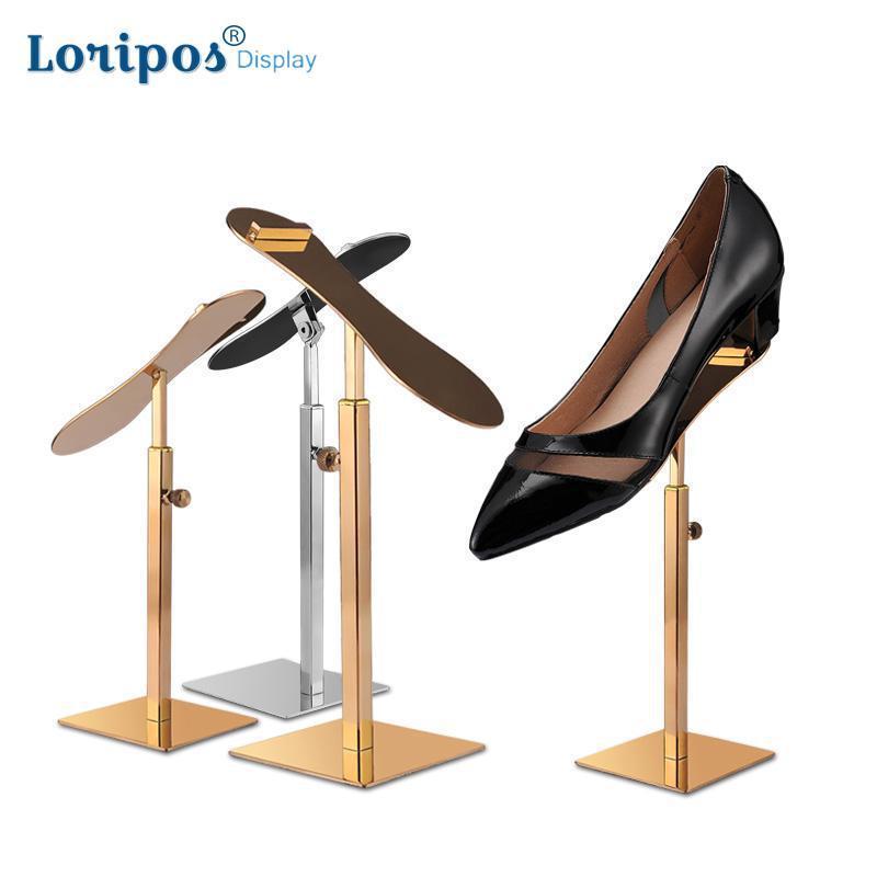 Estante de zapatos de acero inoxidable Zapato para zapatos de tacón alto Soporte de pie Zapatos de metal de altura ajustable Soporte de soporte Soporte de mesa Zapatos de mesa
