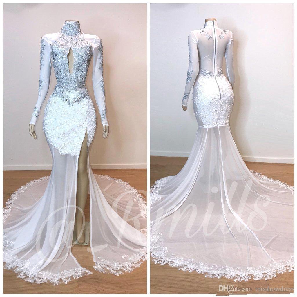 Bianco Sheer Lace Mermaid Prom Dresses 2019 Collo alto Sheer Maniche lunghe Pizzo Applique Split Formale Party Pageant Abiti da sera BC1180