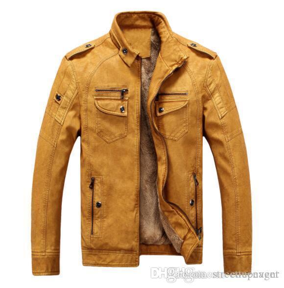 Hombre del diseñador Chaqueta de cuero de invierno gruesa Moda masculina Coats