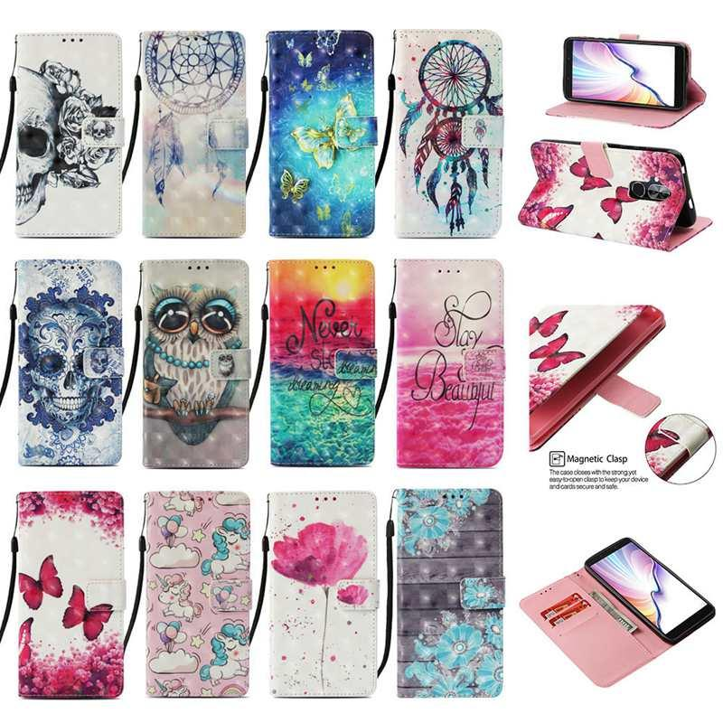 Leder-Mappen-Kasten für Huawei Honor 20 Pro P20 lite 2019 Galaxy Note 10 Pro Diamant-3D-Blumen-hölzerne Spitze Owl Schädel Sonnenaufgang 60PCS