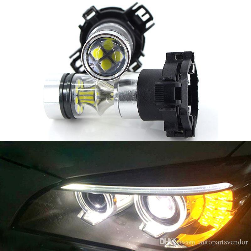 2pcs Ámbar Amarillo Blanco 20SMD 100w PY24W Bombillas LED 5200S w espejo reflector / diseño frontal luces de giro