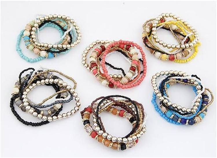 6 colores del estilo del océano nuevo de la manera pulsera Multcolor sistemas / pulsera de la joyería para las mujeres Envío libre al por mayor de ZFJ728