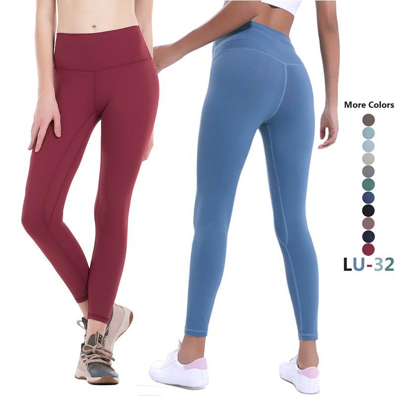 LU-32 اللباس 2020 المرأة اليوغا لو سروال Yogaworld عالية الخصر الرياضة رياضة ملابس مطاطا للياقة البدنية سيدة عموما الجوارب تجريب