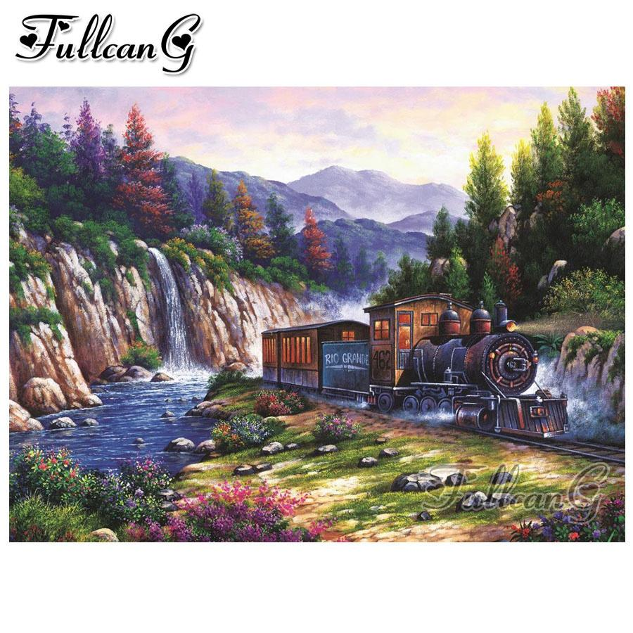 FULLCANG 5d diy Diamant Mosaik voller Stickerei Verkauf szenische Zug quadratisch / rund bohren Diamant Malerei Wasserfall Wanddekor FC1090