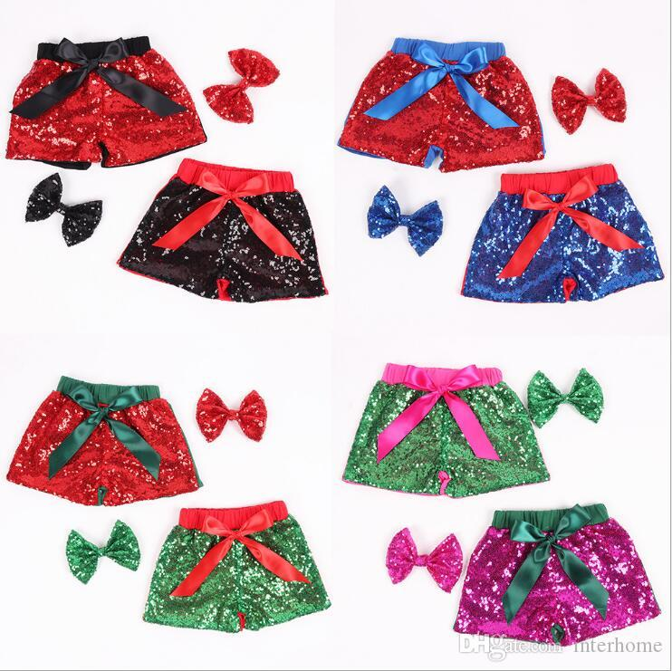 Baby Sequins Shorts Headband Kids Glitter Dance Pants Girls Bling Boutique Shorts Casual Pants Bowknot Princess Party Summer Shorts B5898