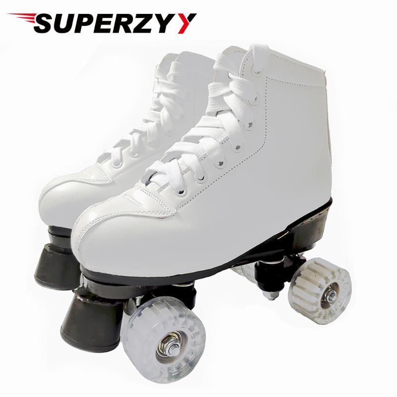 투명 PU 바퀴 화이트 블랙 롤러 스케이트 Womam 남성 성인 인조 가죽 야외 신발 Patins