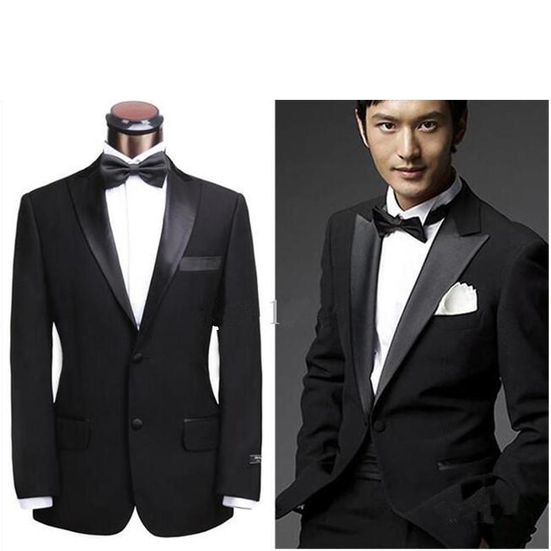 Siyah Yeni Erkek İki Düğmeler Düğün Damat Çalışma Smokin Suit (Ceket + Pantolon)