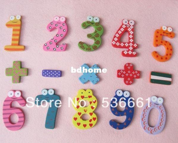15PCS Cute Fridge Magnets Early Learning Educational Toys Digital Wooden Math US