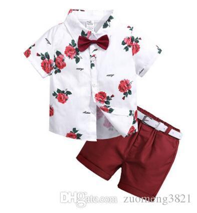 Neonati maschi insiemi Gentleman I bambini vestiti di estate dei ragazzi corta floreale manica parti superiori dei ragazzi + Shorts + Belt bambini insieme