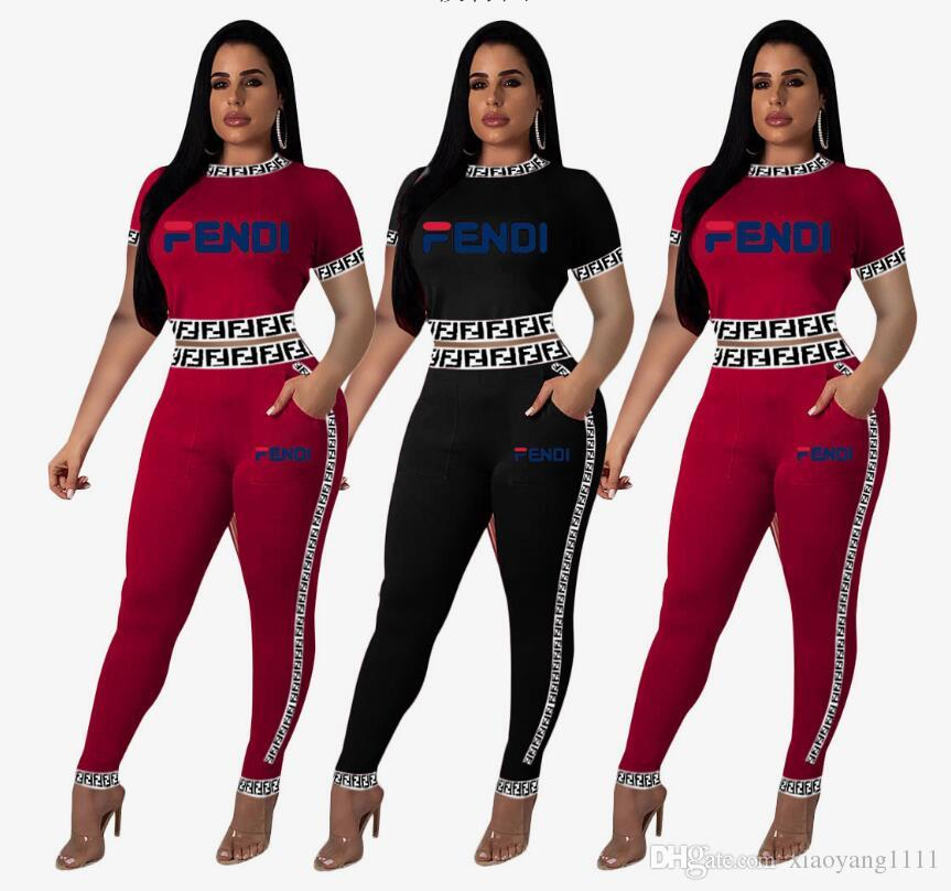 European and American Sell well fashion women two piece set Sexy women's clothing block box logo F Russian alphabet ribbon suit Two designer