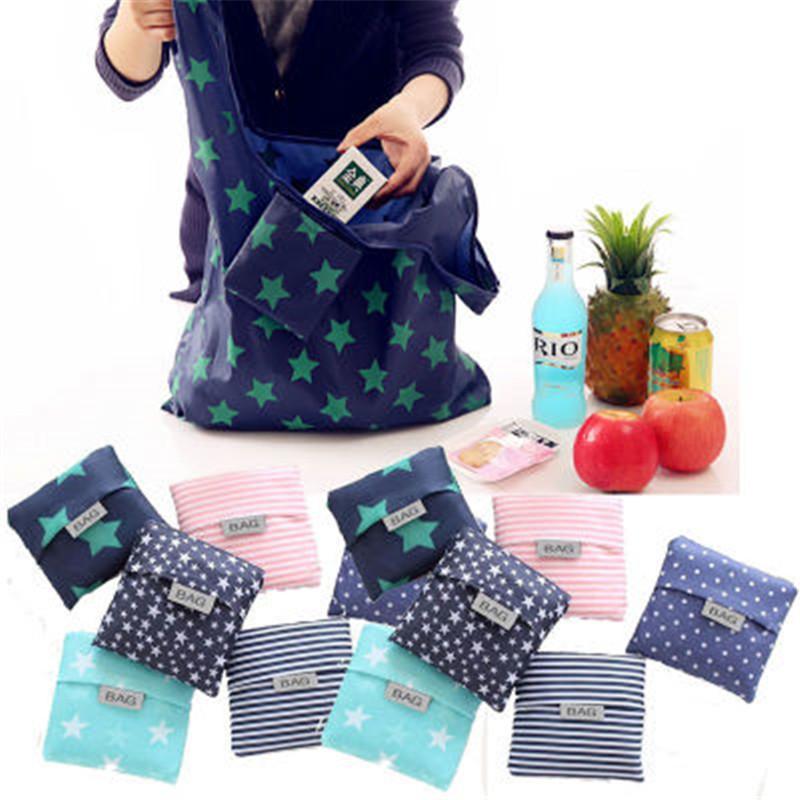 Nueva impresión de la manera bolsa plegable bolsa verde de mano plegable bolsos convenientes bolsas de almacenamiento de gran capacidad R1283-1