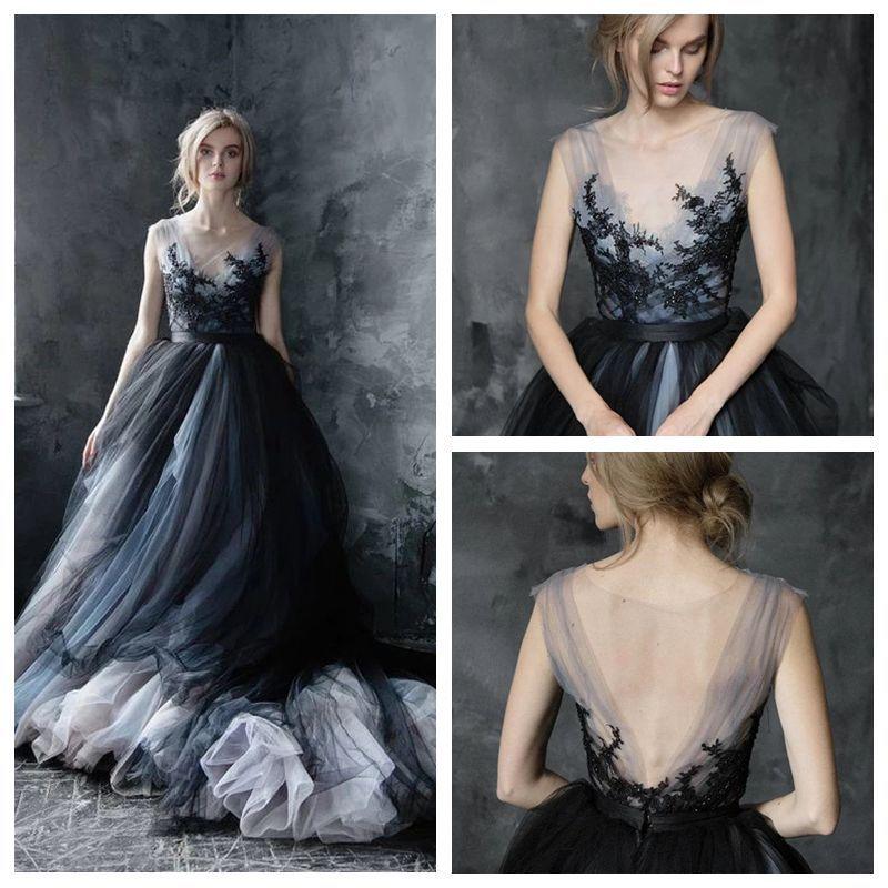 Impressionante A linha de colher casamento preto vestido de renda apliques Tulle Gypsy Wedding Dress Longo Piso vestes Comprimento de mariee